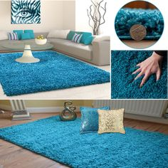 Details About Teal Blue Turquoise Modern Gy Rugs Thick Plain Soft Pile Small Large Xl Size