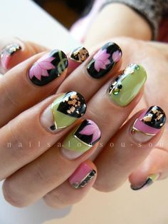 Lotus Flower Bomb Nails...I want these for the Spring summer...