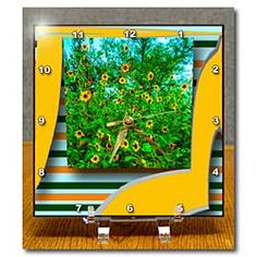 A sun flowery photo on a yellow 3D Repousse with stripes, cheerful Desk Clock