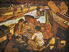 Ismail Mat Hussin Pantai Sabak Fishing Villlage Batik X Southeast Asian Arts, Indonesian Art, Fishing Villages, Balinese, East Coast, Illustration Art, Artwork, Painting, Figurative