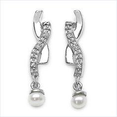0,76 Carat Perlen/ Zirkonia Ohrstecker / Ohrhänger 925 Silber Rhodiniert,