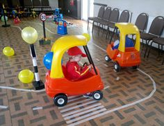 Cars party - Make a racetrack using masking tape and have ride on toys, small bikes, and cars for them to ride.