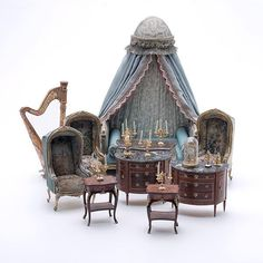 Collection of French Style Doll House Furniture: : Lot 844 (jt- some pieces signed by Herbillon and Le Chateau)