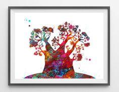 BaobabTree watercolor Print baobab poster tree art by MimiPrints