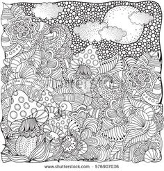 Fantasy fairy mushrooms in the magic forest. Black and white Pattern for adult Coloring book. Hand-drawn, ethnic, doodle, vector, zentangle.
