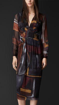d4a2eaad4cf Geometric Print Layered Silk Smock Dress
