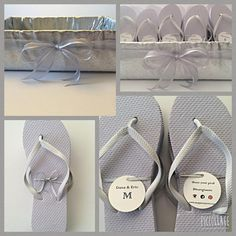 Custom Dancing shoes. #Flip flops for #weddings, #sweet16, #batmitzvahs and pretty much any event where people want to kick off their shoes!! 💃🏼👣 www.mypartysaver.com - My Party Saver 😀
