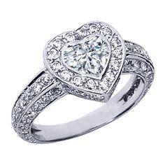 Vintage Style Bezel Set Heart Shape Diamond Engagement Ring with Pave Set Round Diamonds