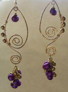 14K Gold Filled Wirewrapped Purple Freshwater Pearls Earrings on Etsy, $24.00