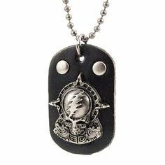 R&B Joyas - Collar hombre, cadena colgante placa militar, esqueleto rock punk gótico, cuero y metal, color plateado / negro: Amazon.es: Joyería