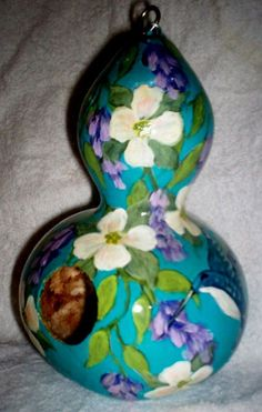 Dogwood, Wisteria, Hummingbirds Blue Painted Gourd birdhouse Garden Yard/ Art