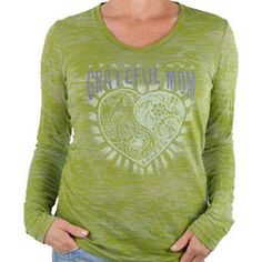 Mothers are proud to be mom! Say it with this flattering green long sleeve burnout v-neck t-shirt that has been made with a vintage worn in look that is both hip and cool.   Burnout t-shirts are dyed and washed and put through an extensive process to reveal years of weathering. This is a garment that captures a true vintage worn-in feel, so no two shirts are exactly the same. Although sheer to the touch, no additional layering piece is needed. V-neck is flattering-not plunging. Extra Length…