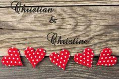 Personalisierte Fußmatte Herzen mit Namen des Paares