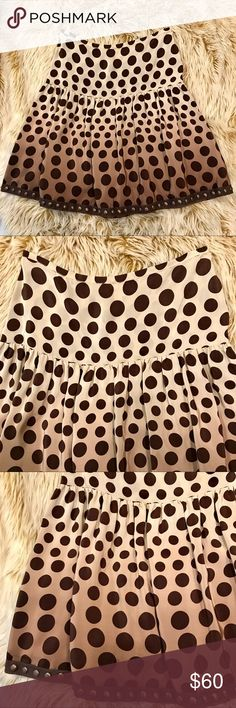 """Plenty Brand Ombré Vintage 100% silk skirt! EUC ❤️❤️EUC PLENTY brand mocha ombre polka dot yoked and gathered skirt! Purchased years ago in Manhattan and worn a few times! No flaws, excellent condition! Super flattering, fully lined, tacks on hem allow for movement and totally unique! Size 4. 100% silk. Measured laying flat: waist 14.5"""", overall length 20.5"""", length below yoke 18"""", waist to yoke 6.75"""". Happy Poshing and please ask any questions!!❤️❤️ Plenty Skirts A-Line or Full"""