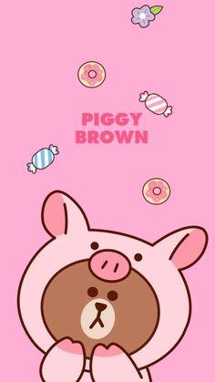 Lines Wallpaper, Brown Wallpaper, Brown Line, Friends Wallpaper, Cartoon Background, Cute Mouse, Line Friends, Bear Art, Line Sticker