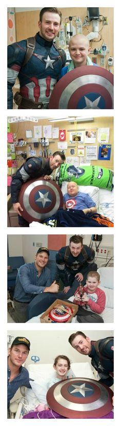 Chris Evans Proved That He's A Real Superhero When He Visited These Kids In The Hospital. Chris Evans donned his Captain America and visited these sick kids along with Chris Pratt. The result is perfection!