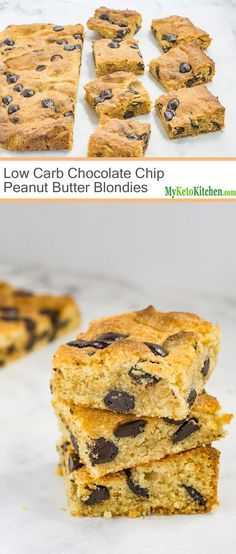 Low Carb Chocolate Chip Peanut Butter Blondies - Gluten Free, Grain Free, Keto, Sugar Free