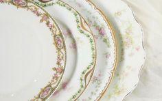 Mismatched Limoges France Vintage Pink Plates by RosebudsOriginals