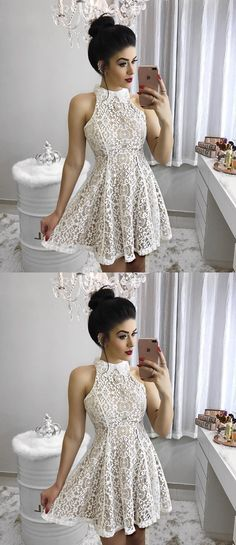 simple white lace homecoming dresses, fashion short prom dresses, chic semi formal dresses, cute cocktail dresses.