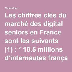 Les chiffres clés du marché des digital seniors en France sont les suivants (1): * 10.5 millions d'internautes français ont + de 50 ans * 25% des acheteurs en ligne ont plus de 50 ans (+ 37 % en 1 an) * 64% ont déjà achetés en ligne * 45% des + de 50 ans sont des surfers avertis * 69% des 50+ ont un ordinateur (82% chez les 50-64 ans) * 45% se connectent à internet au moins 1 fois / jour (56 % chez les 50-64 ans) * 71% ont un téléphone mobile (86 % chez les 50-64 ans) * 51% ont une box…