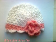Crocheted baby girl hat with crocheted rose detail by paintcrochet, $19.00