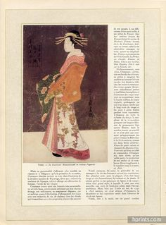 Kiyonaga, Yeisho, Sharaku & Outamaro 1929 Japanese prints, complete Article 8 Pages, Traditional Costume — documentation published in a vintage periodical