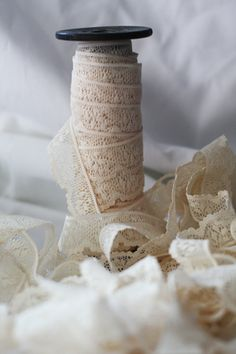Vintage Lace - Wooden Spool-wrap the handle of the boquet and add rhinestones