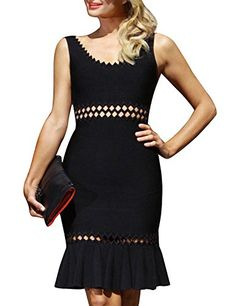New Hego Women's Rayon Black Hollow Out Fishtail Bandage Bodycon Cocktail Dresses H556 online. Find the  great R.Vivimos Dresses from top store. Sku lrcf74017oyqu97824