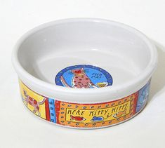 Feed Me Cat stoneware cat feeding dish by Riviera Van Beers for Signature Housewares. This small stoneware pet feeding bowl is in clean pre-owned condition, free of chips, cracks, stains, crazing. Appears unused. | eBay!