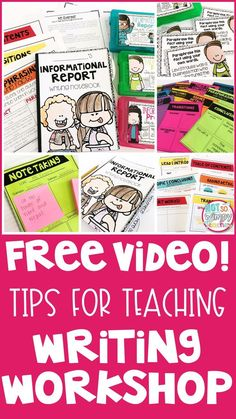 In this FREE video you will get tips for teaching writing and. implementing the writing. workshop!