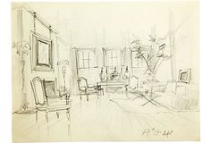 Interior sketch of Albert Hadley's apartment on East 79th Street. Pencil on lined paper.
