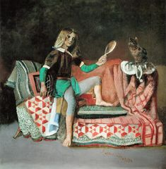 """Le Chat au Miroir III"" , 1989-94 , casein and tempera on canvas , 200c195 cm , Private Collection"