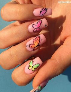 Dancing On The Fingertips In The Summer Nails Art Designs - Keep creating beauty and warm home, Find more happiness in daily life Butterfly Nail Designs, Butterfly Nail Art, Cute Acrylic Nail Designs, Simple Acrylic Nails, Best Acrylic Nails, Nail Art Designs, Punk Nails, Swag Nails, Grunge Nails