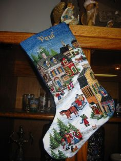 My Husband's Christmas Stocking - Dimensions Village Scene Stocking