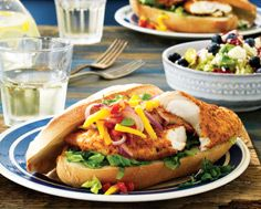 Firecracker Fish Sandwiches with Green Mango Salsa & Greens with Blueberry Vinaigrette