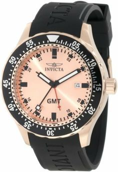 Invicta Men's 11257 Specialty GMT Rose Gold Dial Black Polyurethane Watch Invicta. $59.95. Water-resistant to 100 m (330 feet). Rose gold dial with black hands and hour markers; red second hand; luminous; gmt function; unidirectional bezel with black top ring. Date function. Flame-fusion crystal; polished 18k rose gold ion-plated stainless steel case; black polyurethane strap. Swiss quartz movement. Save 90%!