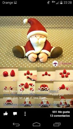 Fondant Santa tutorial - For all your Christmas cake decorat.- Fondant Santa tutorial – For all your Christmas cake decorations, please visit w… Fondant Santa tutorial – For all your Christmas cake decorations, please visit www. Christmas Cake Designs, Christmas Cake Decorations, Fondant Decorations, Christmas Crafts, Fondant Christmas Cake, Xmas Cakes, Christmas Cake Topper, 3d Cakes, Holiday Cakes
