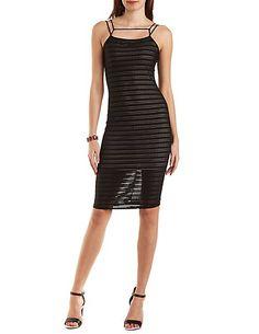 Striped Mesh Bodycon Midi Dress #charlotterusse #charlottelook