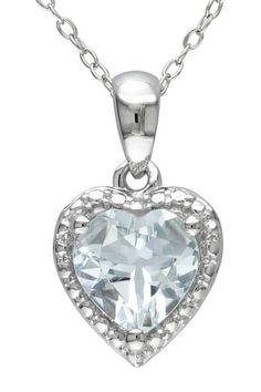 Sterling Silver Aquamarine Heart Pendant Necklace by Delmar on @HauteLook