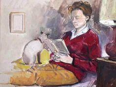 Hélène lendo Guillaume le Baub (França, 1958) técnica mista lebaube.com