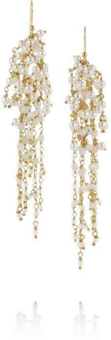 Rosantica Zampillo gold-dipped pearl and rock crystal earrings - women's jewelry (white, handmade, fashion accessories)
