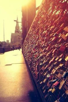 Love bridge, Paris, France. I've been to Paris but never seen this. Very romantic.