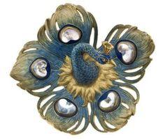 Lalique peacock brooch