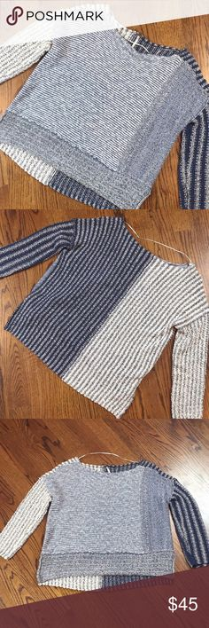 """Free People Mixed Stripe Pullover Sweater Free People Blue & White Knit Sweater   Size small   Excellent pre loved condition   24"""" length from back neckline   81% cotton 13% polyester 6% other fiber Free People Sweaters Crew & Scoop Necks"""