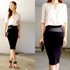 Cathy Ogasawara - Zara Silk Beige Top, HM Black Leather Pencil Skirt, Effegi Ankle Strap Heels - SILK ON LEATHER