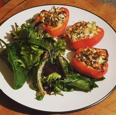 Baked stuffed peppers - with mushrooms, feta and sun-dried tomatoes