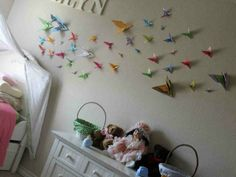 cute flock or origami birds in a girls room :: 3-D Wall Art