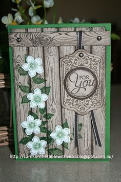Stampin' Up! ... handmade card from Cards on the table with Vicki ... weathered wood look in grays with flower vines ... luv it!