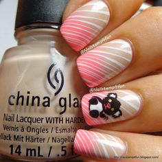 Nail Stamp 4 Fun: Simple Panda Nails: Using Winstonia W205 & W210