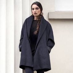 Eden looking stunning in our Carol coat  100% wool and one size available soon!   #coat #autumn #wool #nzdesign #nzmade #coming soon #love #charcoal